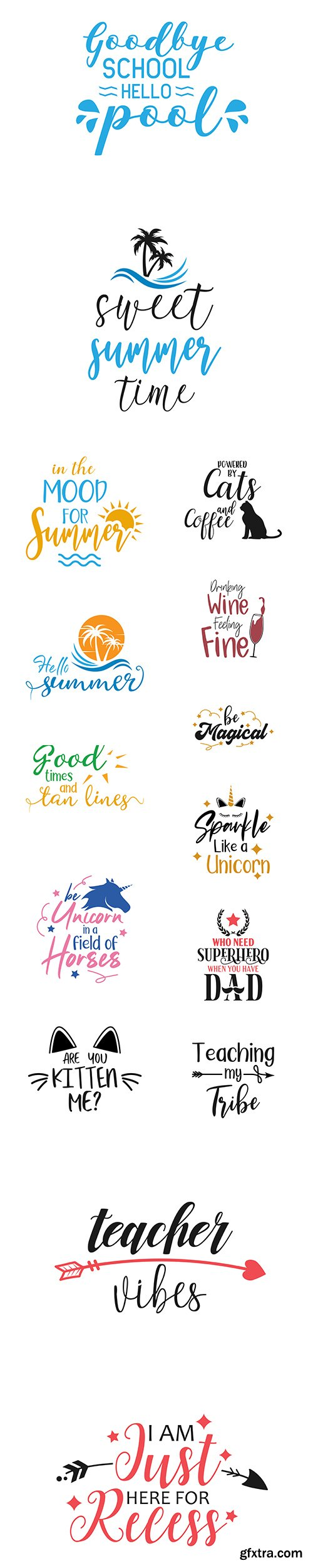 School, Summer, Unicorn and other Quote Lettering Typography Vector Set
