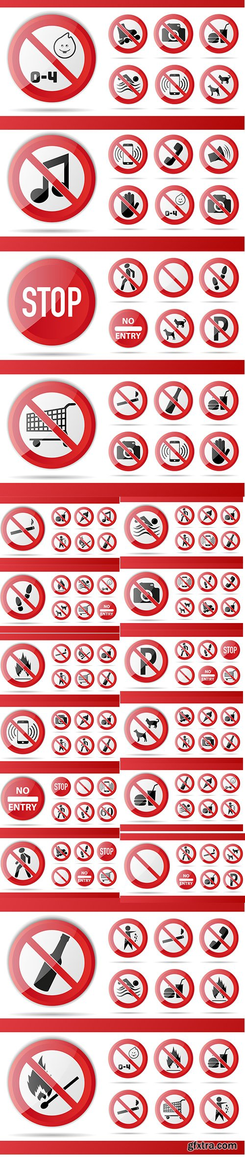 Set of Red Prohibition Sign Object