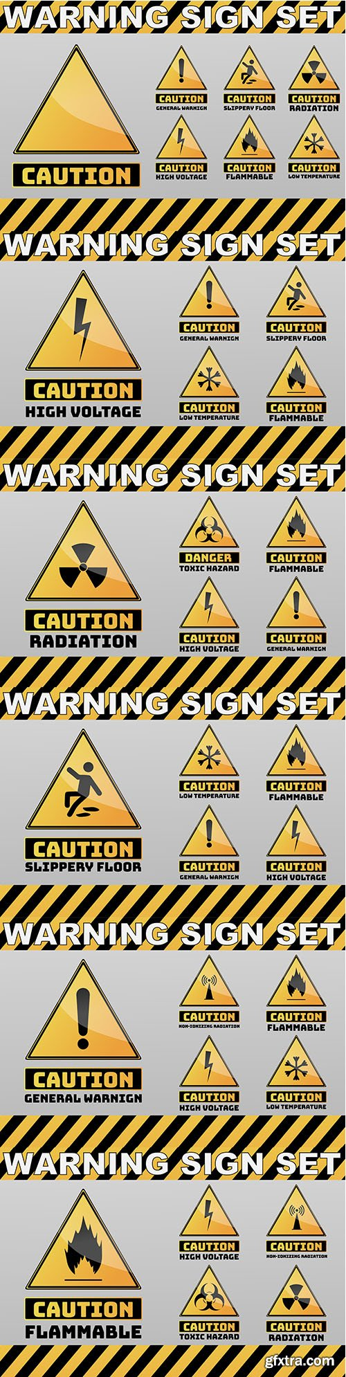 Set of Caution Yellow Sign Object