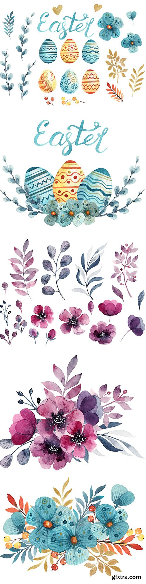 Watercolor Elements Easter Celebration and Floral Decoration