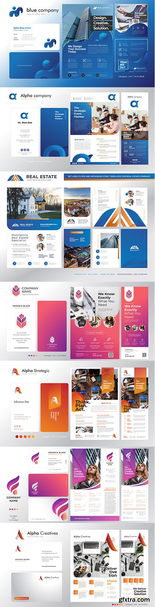 Set of Corporate Logo, Business Card, Flyer and Banner Template