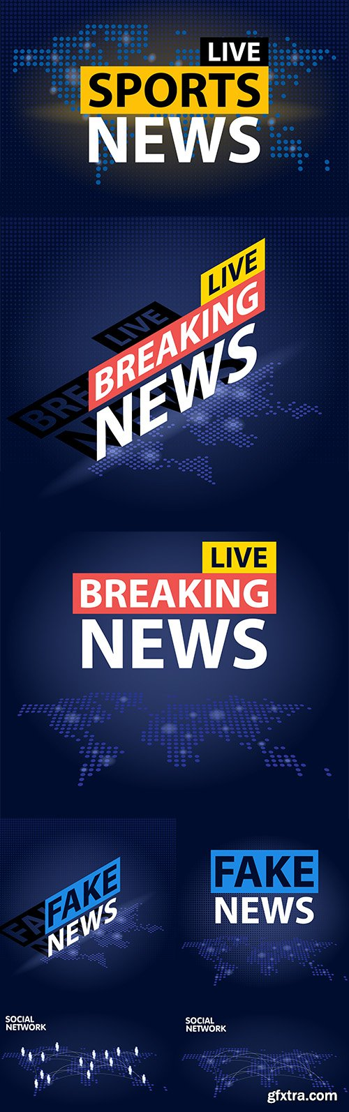 Live Breaking News and World Map Background