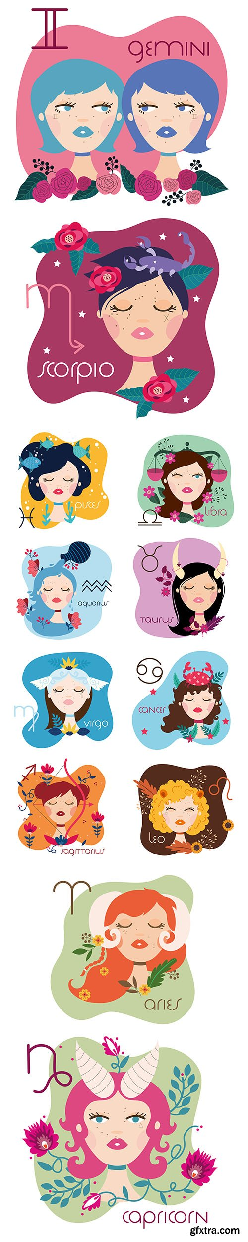 Zodiac Sign Illustration with Beautiful Cartoon Womans