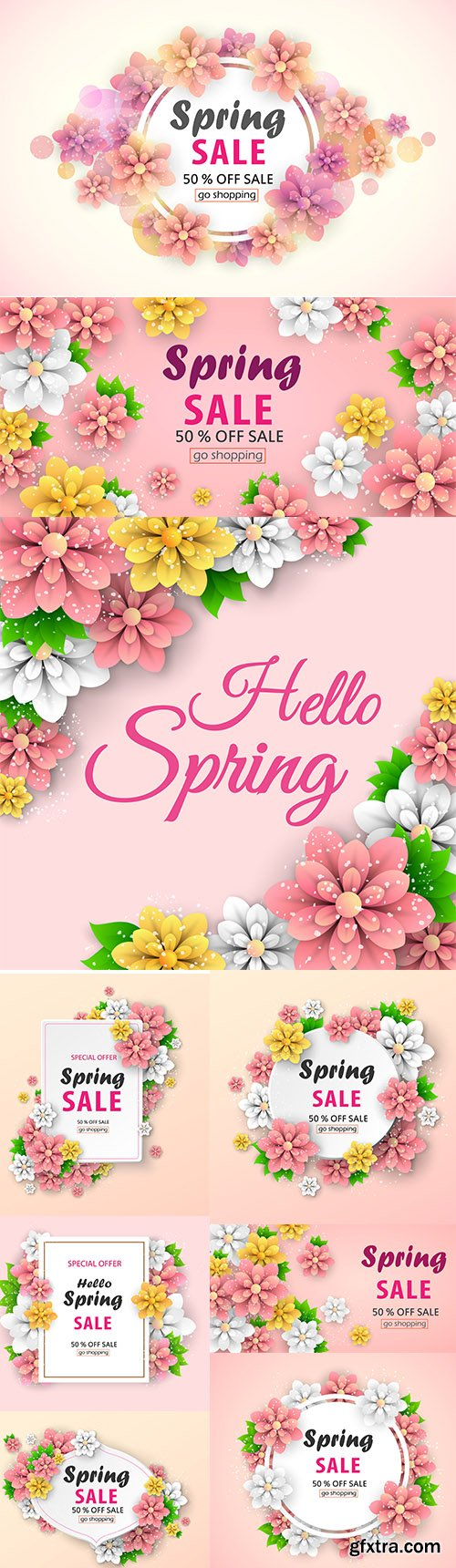 Colorful Spring Sale Banner with Beautiful Flowers Backgrounds