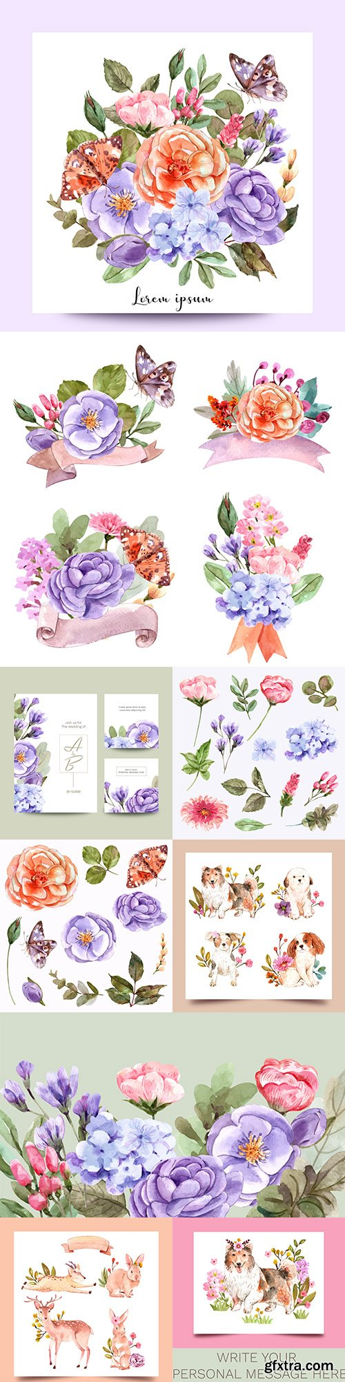 Watercolor flowers and animal set design creativity