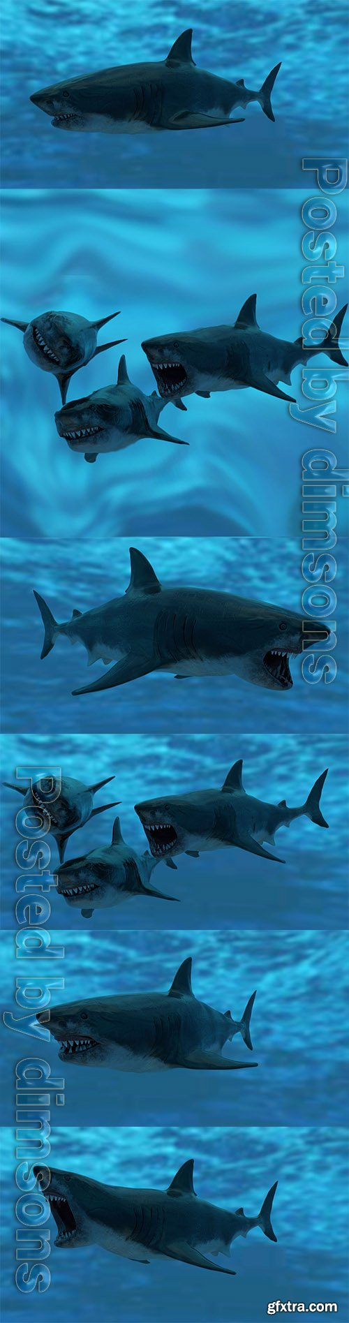 Cgtrader - Great White Shark Model Unreal Engine 4 7 animations Pack Low-poly 3D model