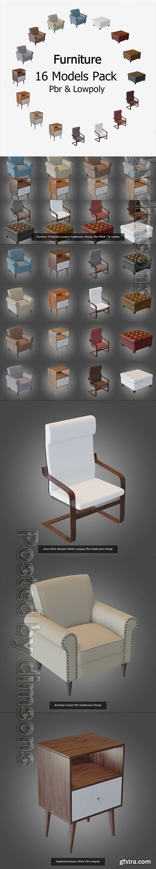 Cgtrader - Furniture 16 Models Lowpoly Subdivision Ready Pbr PACK 3D Model Collection