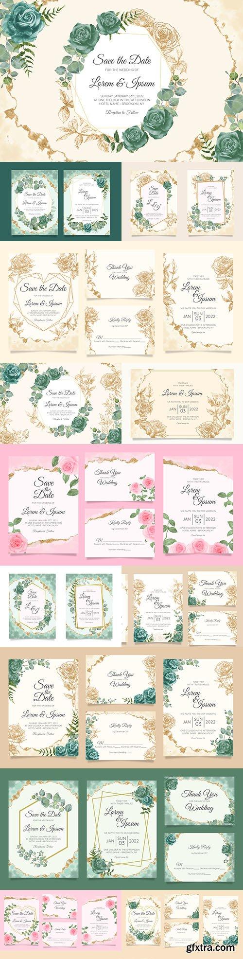 Wedding floral watercolor decorative invitations 21