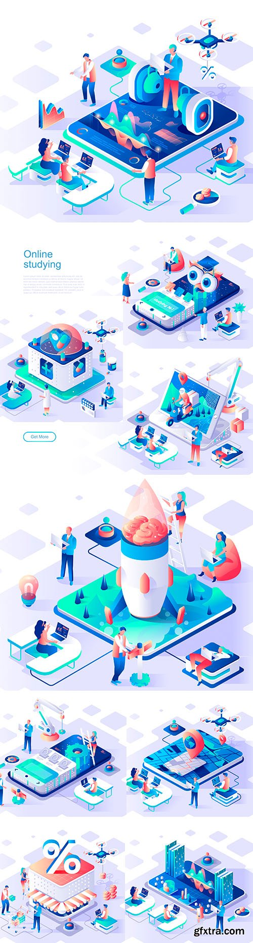 Internet technology and app isometric 3d flat design