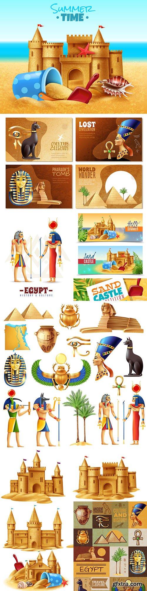 Castle sand and set Egypt symbols realistic illustrations