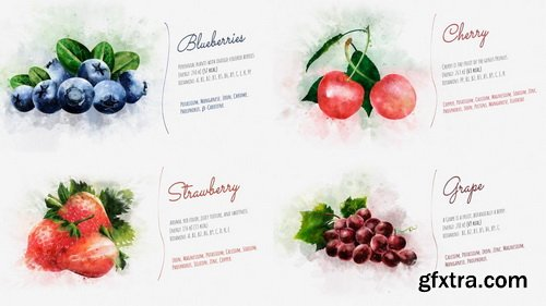 MotionElements - Watercolor Fruits And Vegetables - 12084110