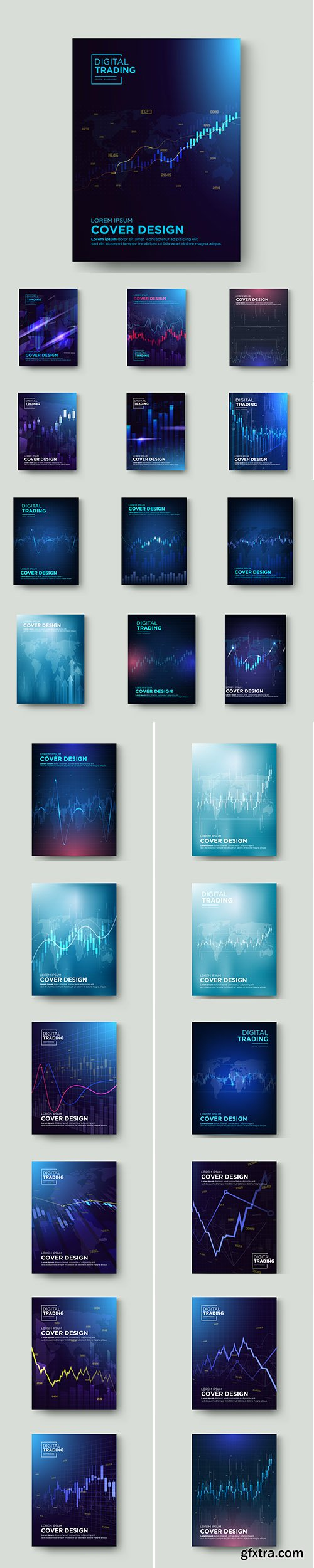 Cover Trading with Graphic Premium Illustrations Vector Set
