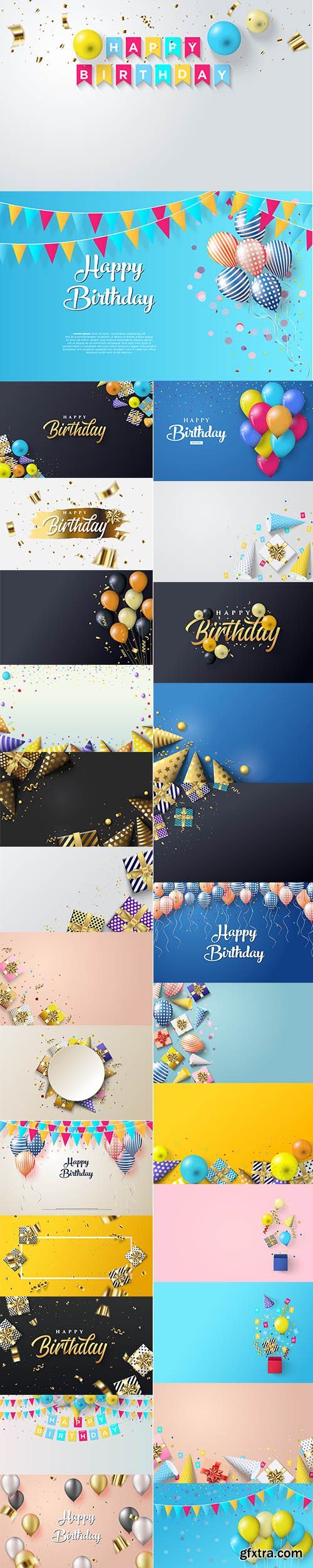 Birthday Party with Gift Box Premium Illustrations Vector Set
