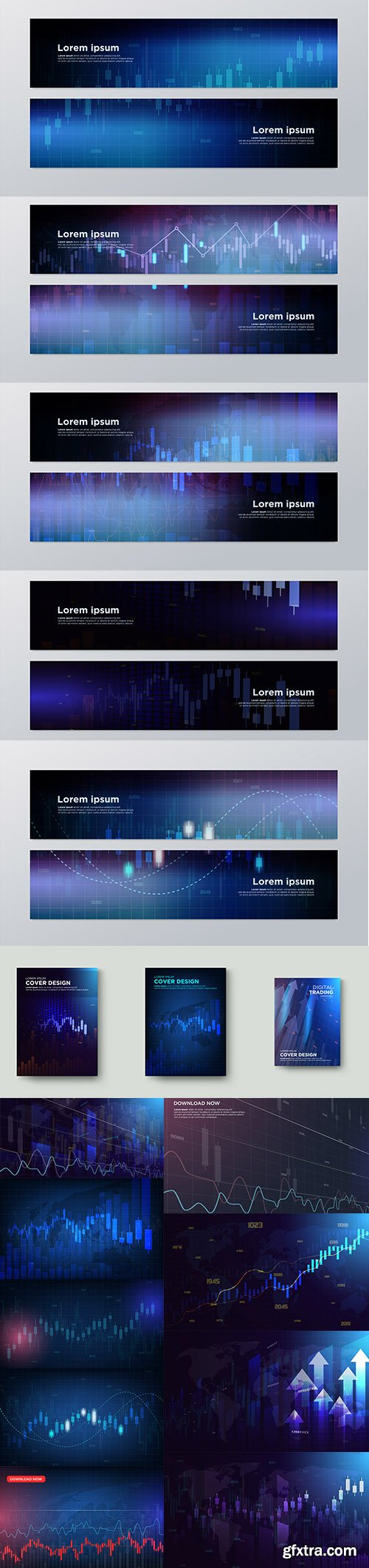 Trading Banners and Backgrounds Premium Vector Set