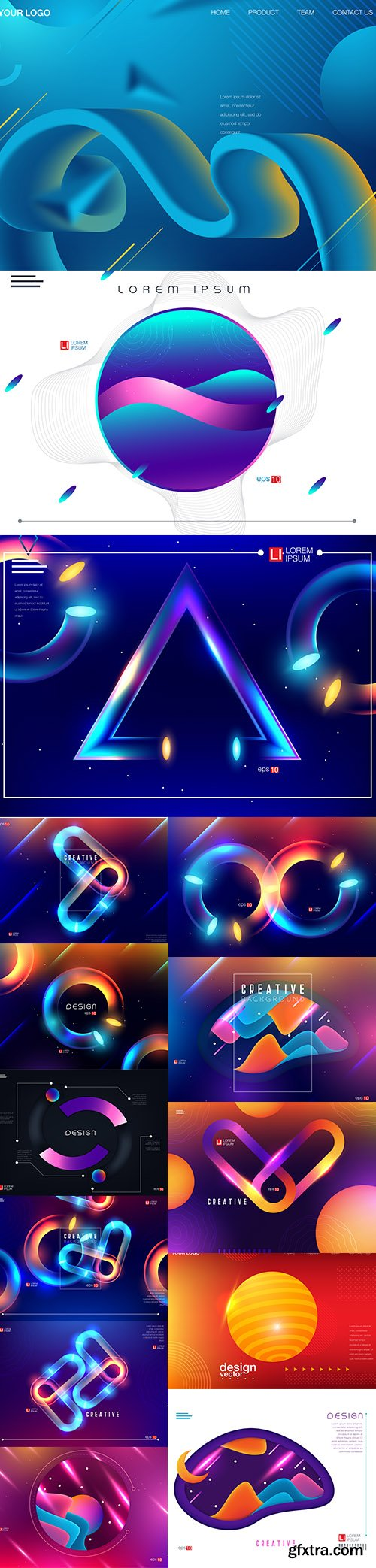 Abstract Colorful Futuristic Premium Illustrations Vector Set