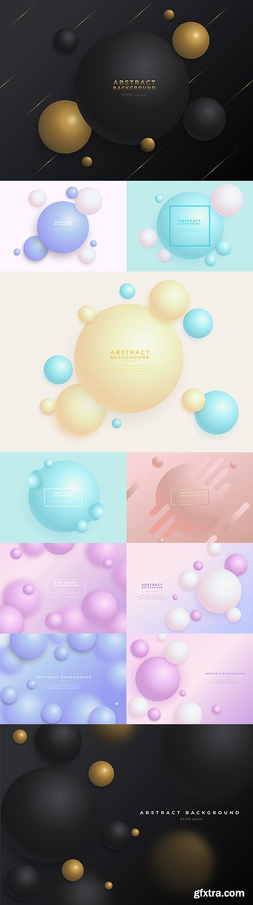 Gradient abstract background with 3d balls