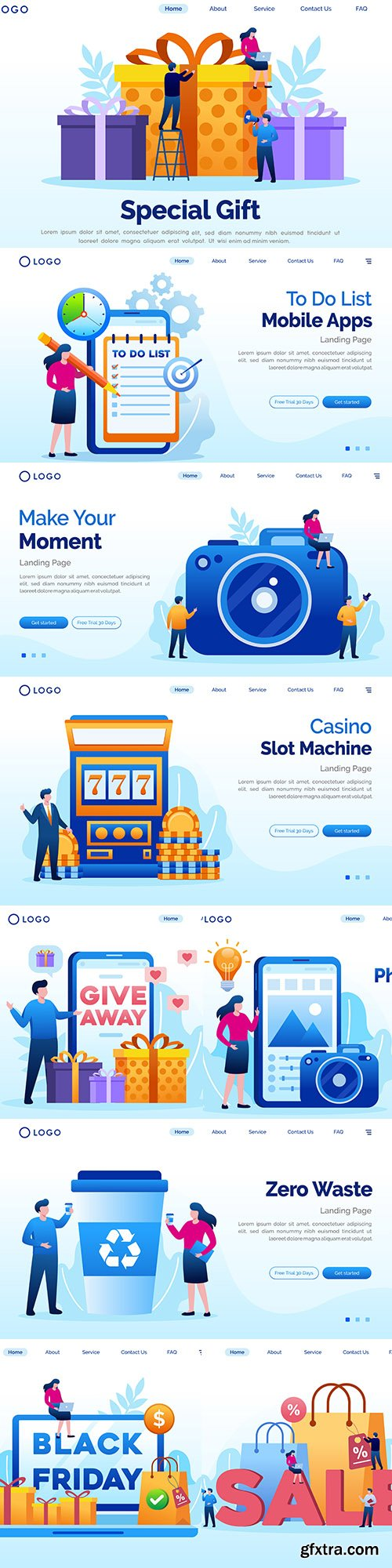 Flat design landing page website and applications