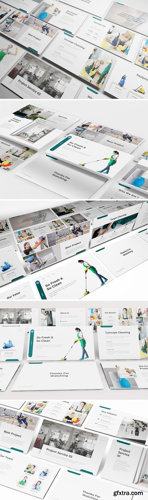 Cleaning Service Powerpoint, Keynote and Google Slides Templates
