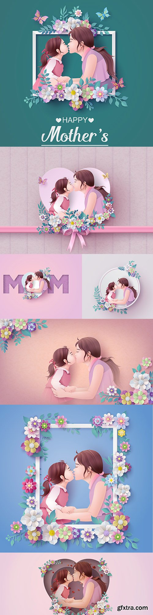 Mother's day happy mother with child illustration
