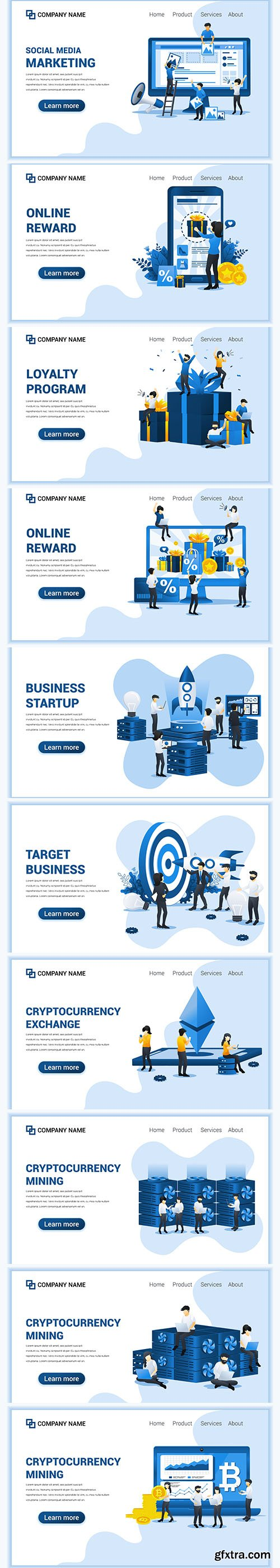 Business Online Concept with People Illustrations Set