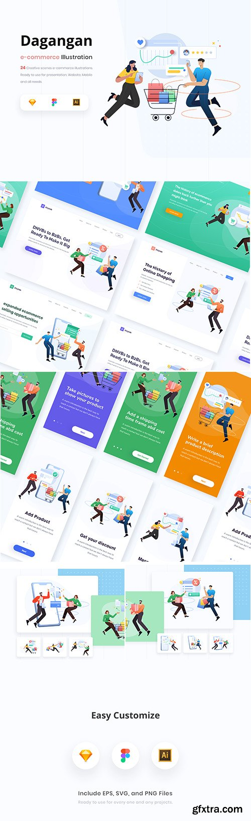 Dagangan - E-commerce and Business Illustration Pack