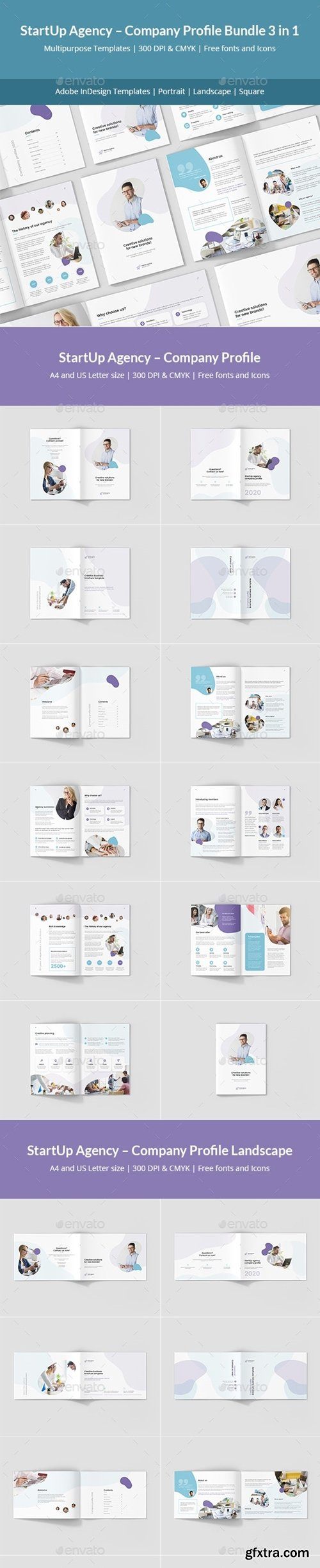 GraphicRiver - StartUp Agency – Company Profile Bundle 3 in 1 24494583