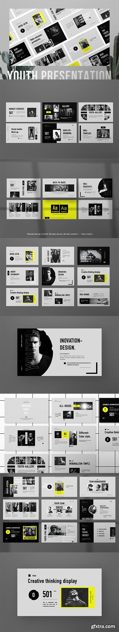 Youth Minimal Brand Business PowerPoint, Keynote and Google Slides Template