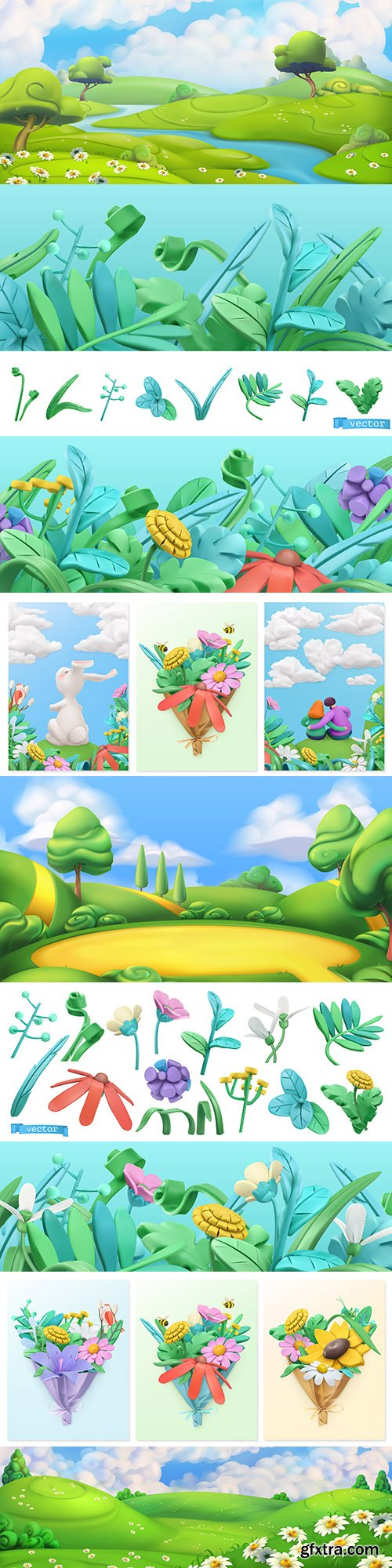 Landscape and spring flowers 3d illustrations