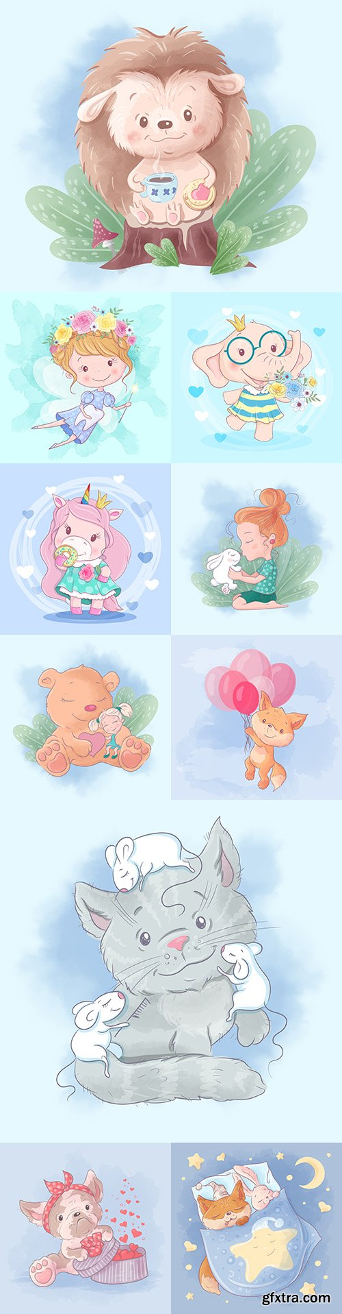 Cute cartoon animals and children watercolor illustrations 5