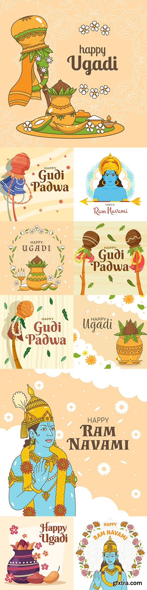 Ram Navami and Gudi Padwa holiday flat design