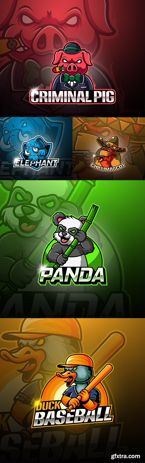 Emblem gaming mascot design esport illustration 5
