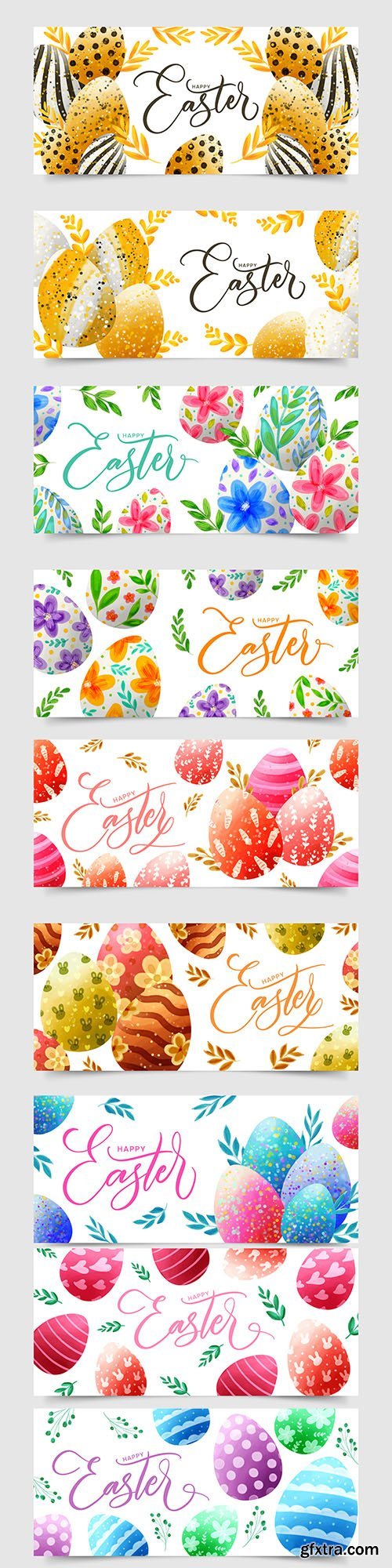 Easter eggs banners watercolor design illustrations