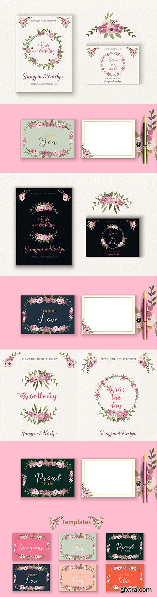 Floral wedding invitation and spring postcard template