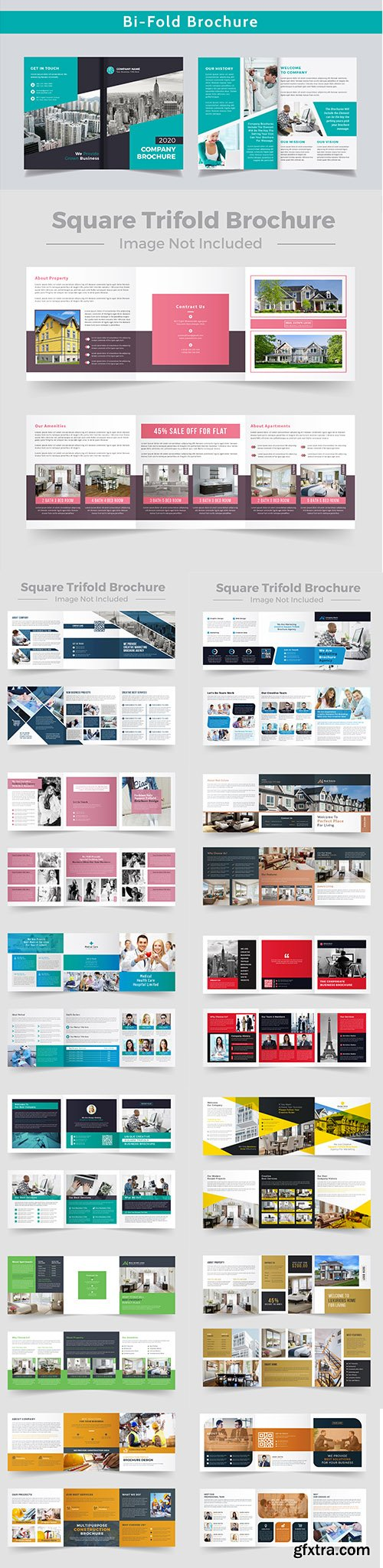 Square Trifold Business Brochure Design Template Pack