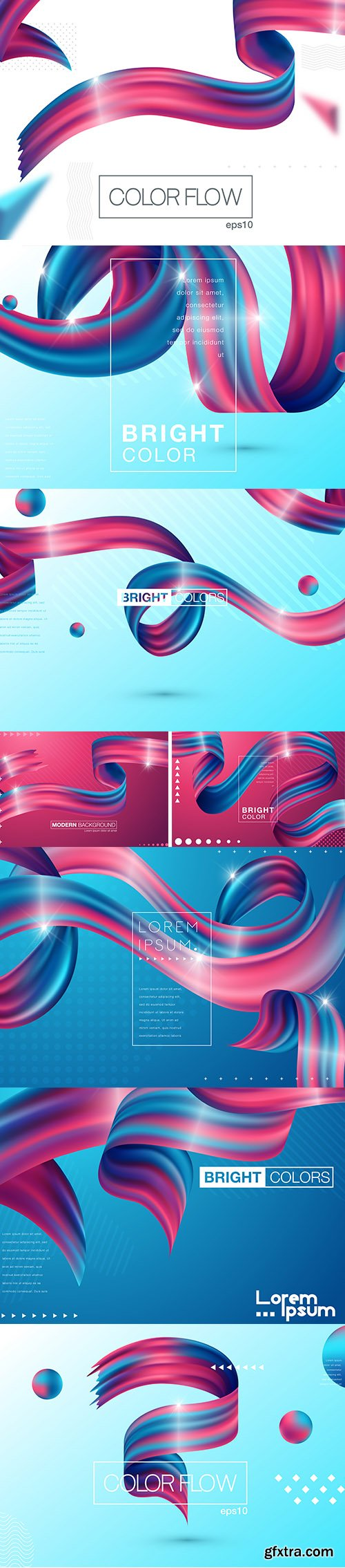 Colorful 3D Flow Shapes Liquid Wave Background Set