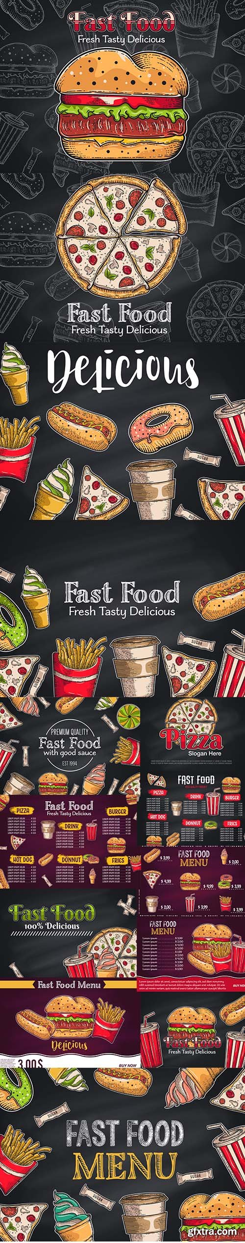 Vintage Fast Food Background Hand Drawn Illustrations
