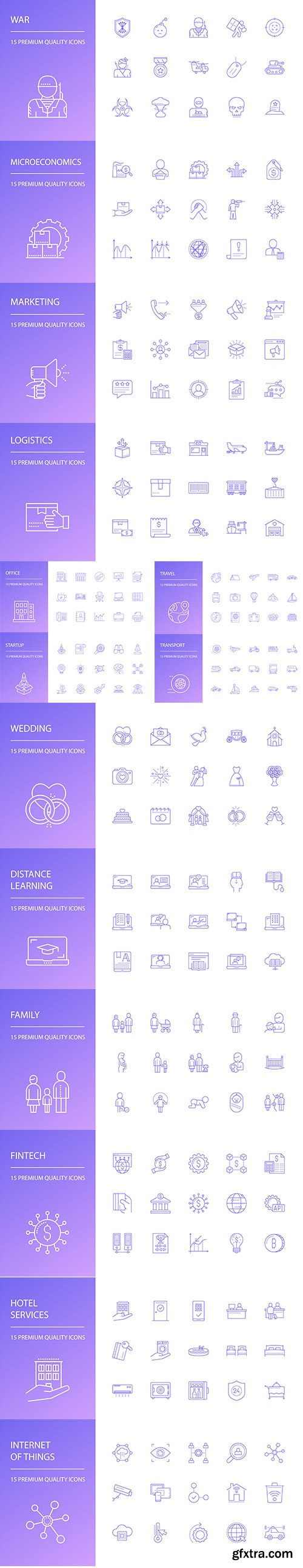 Family, Business, Travel and Logistics Line Icons Set