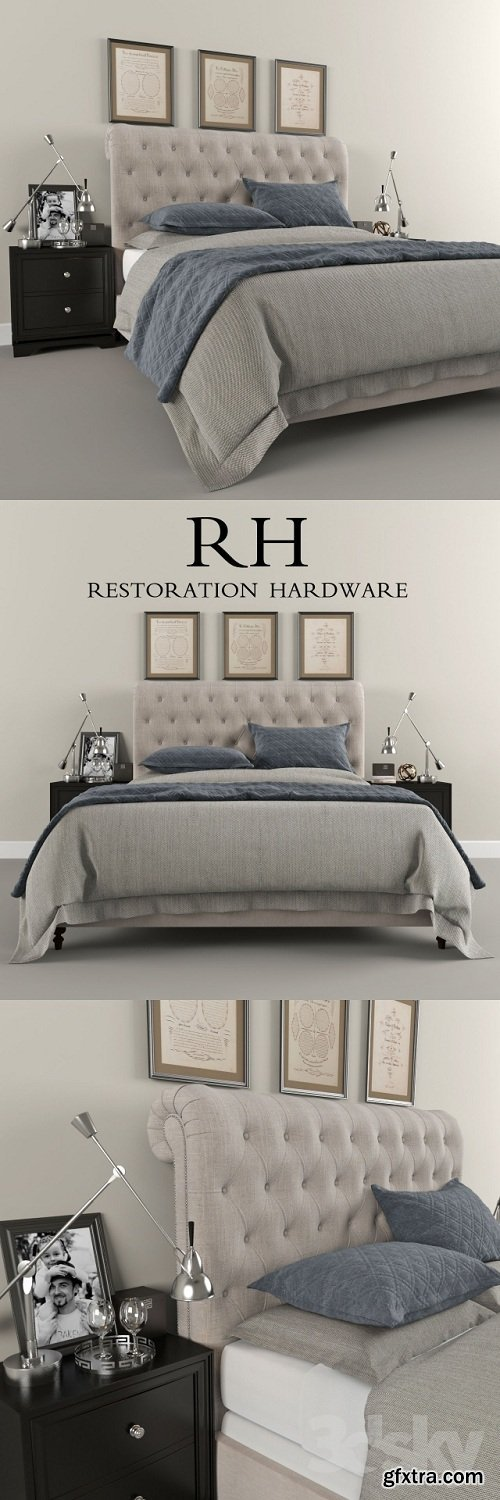 Restoration Hardware Sleigh Chesterfield Fabric bed
