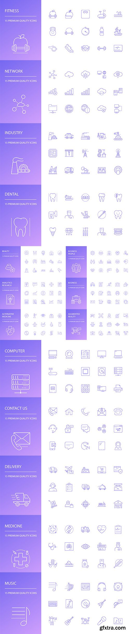 Beauty, Computer, Business, Music and Madicine Line Icons Set