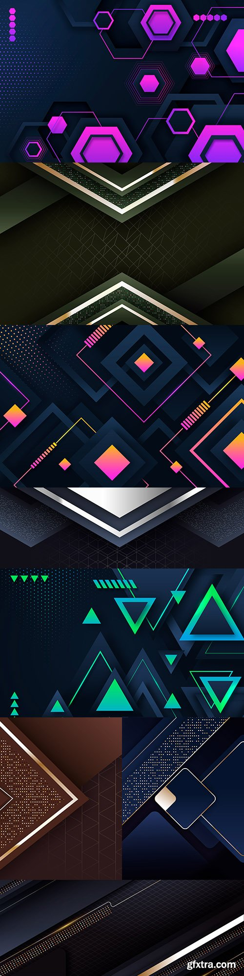 Gradient geometric shapes design dark background 5