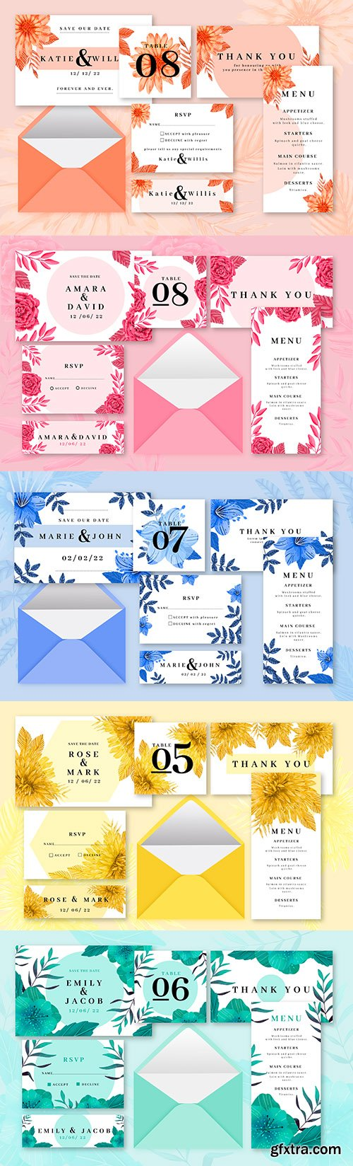 Colored wedding stationery design template