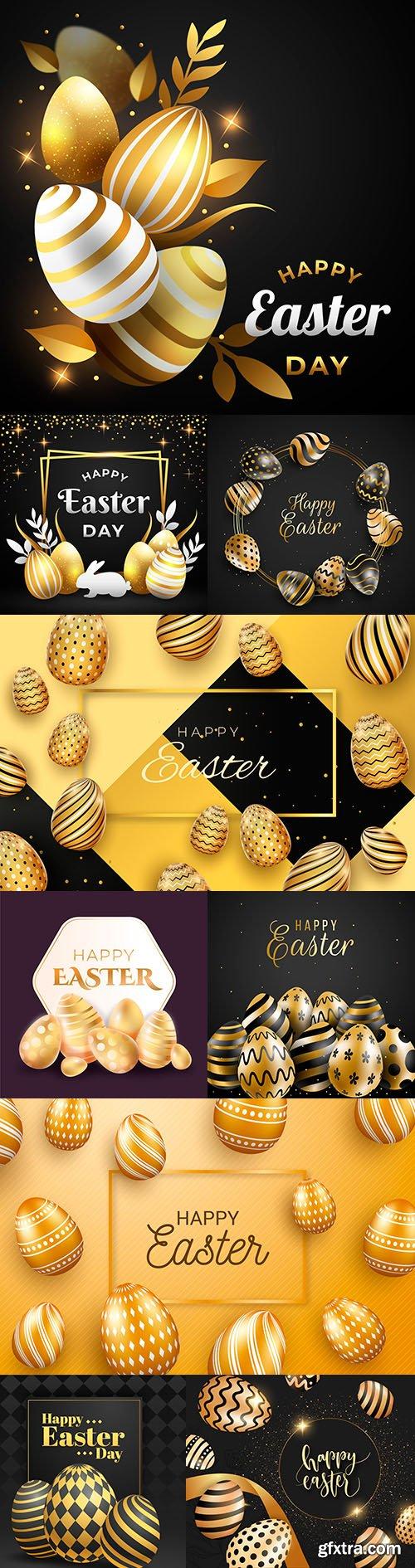 Happy Easter gold decorative illustration design 2