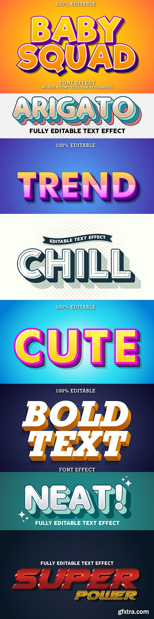 Editable font effect text collection illustration 20