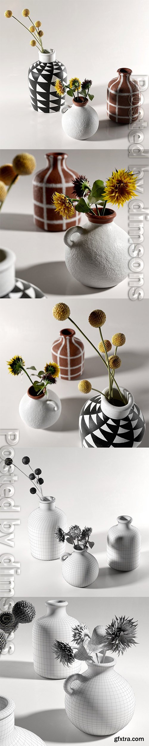 Cgtrader - Morocco Vases with Flowers 3D model