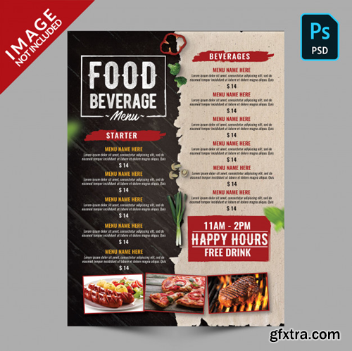 Vintage dark wood and old paper menu Premium Psd