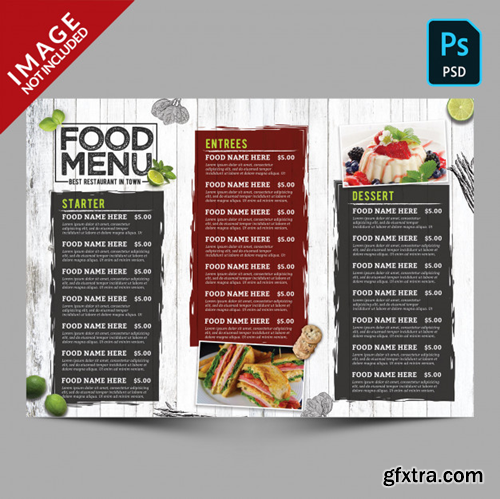 Vintage food menu template Premium Psd