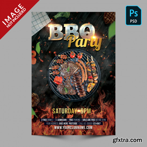 Dark bbq party poster template flyer Premium Psd