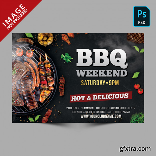 Dark bbq weekend template horizontal flyer Premium Psd