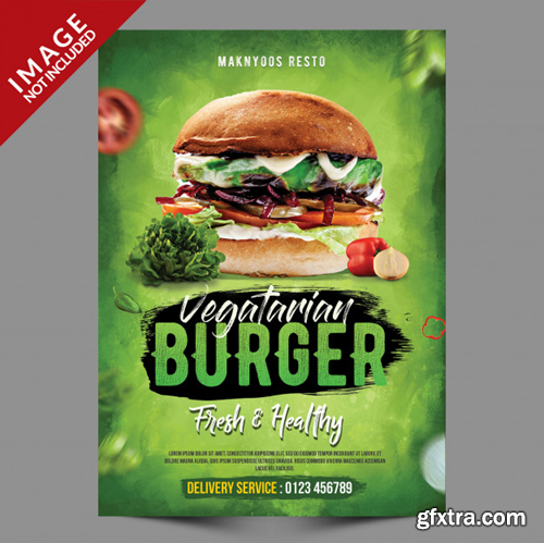 Vegetarian burger flyer template Premium Psd