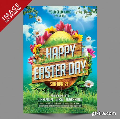 Happy easter day postertemplate Premium Psd